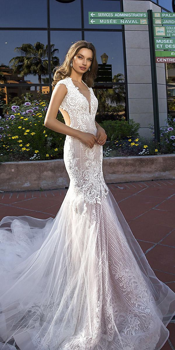 tina valerdi wedding dresses fit and flare with cap sleeves lace with train 2019