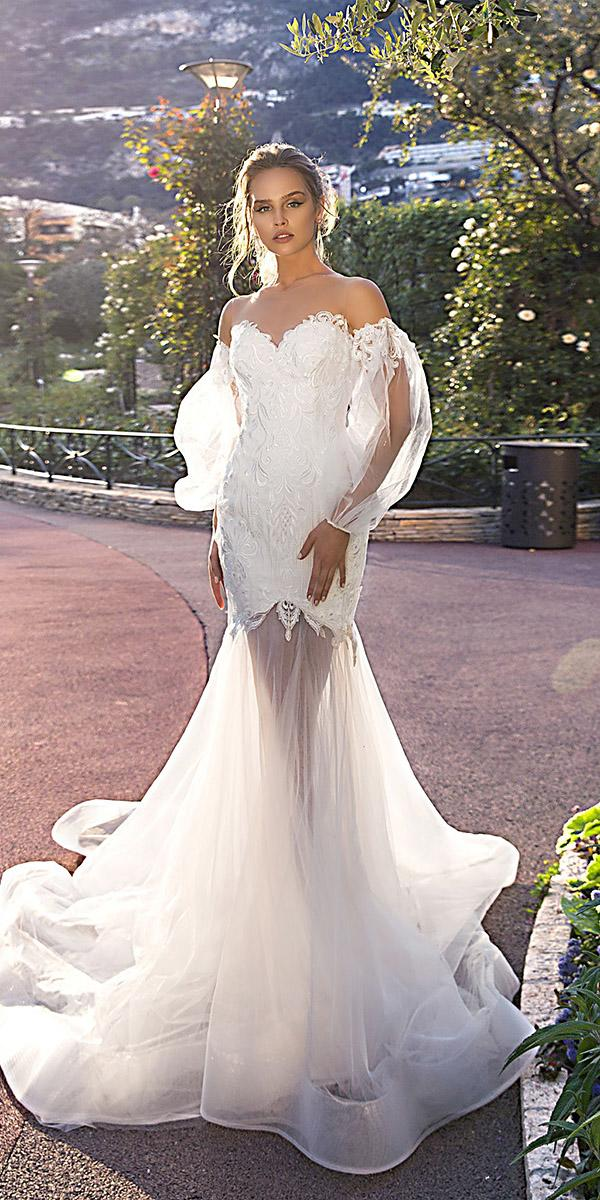 tina valerdi wedding dresses fit and flare with detached sleeves trendy 2019