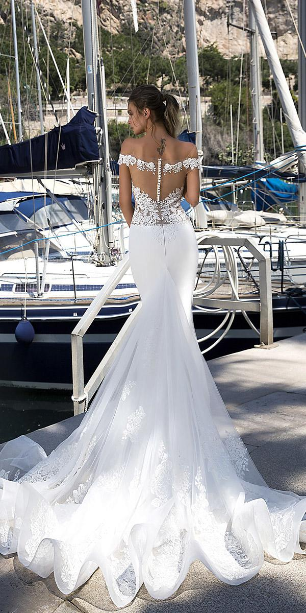 tina valerdi wedding dresses sexy illusion back off the shoulder lace with train 2019