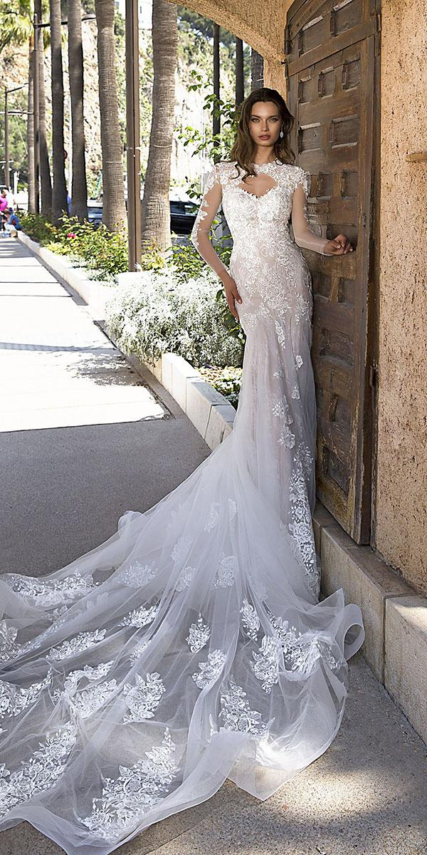 tina valerdi wedding dresses sexy open neckline with illusion long sleeves lace train 2019