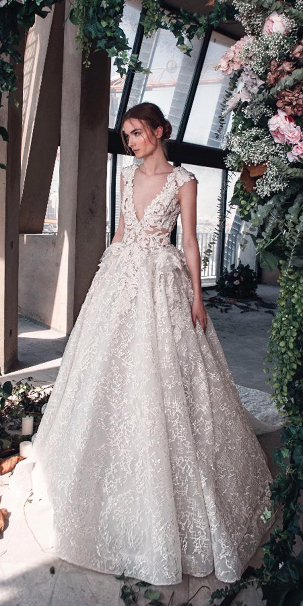 tony ward wedding dresses 2019 a line v neckline lace appliques