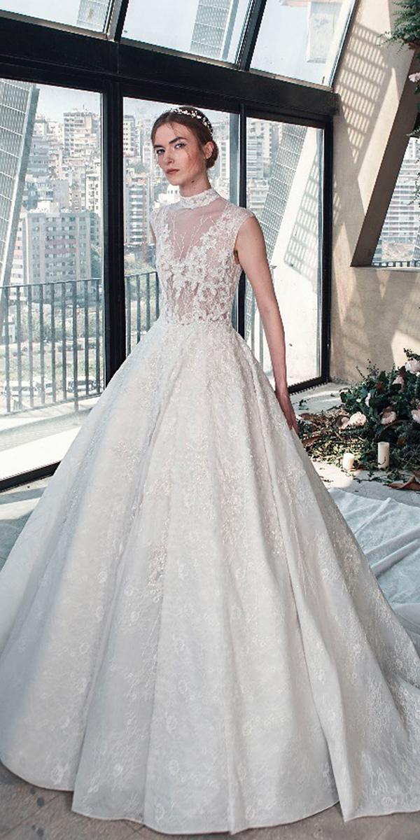 tony ward wedding dresses 2019 ball gown high neck illusion neckline floral appliques lace