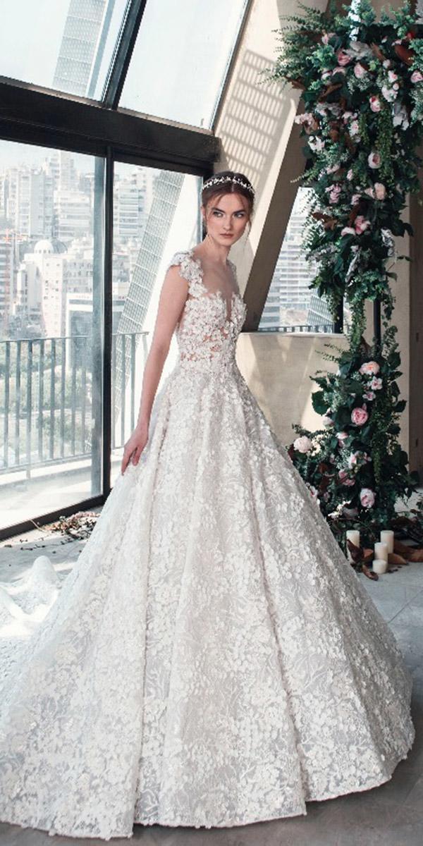 tony ward wedding dresses 2019 ball gown illusion neckline floral appliques
