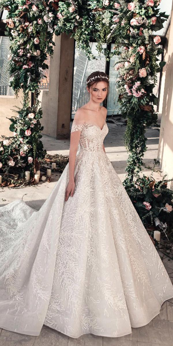 tony ward wedding dresses 2019 ball gown off the shoulder lace floral blush