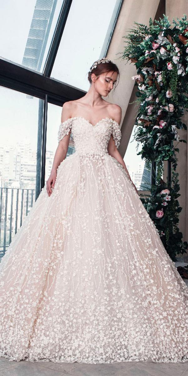 tony ward wedding dresses 2019 ball gown off the shoulder sweetheart floral blush