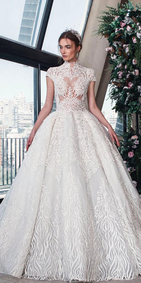 tony ward wedding dresses 2019 ball gown with cap sleeves high neck lace floral