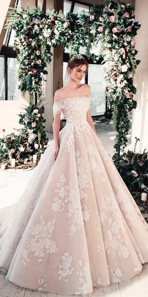 tony ward wedding dresses 2019 off the shoulder a line floral embellishment blush