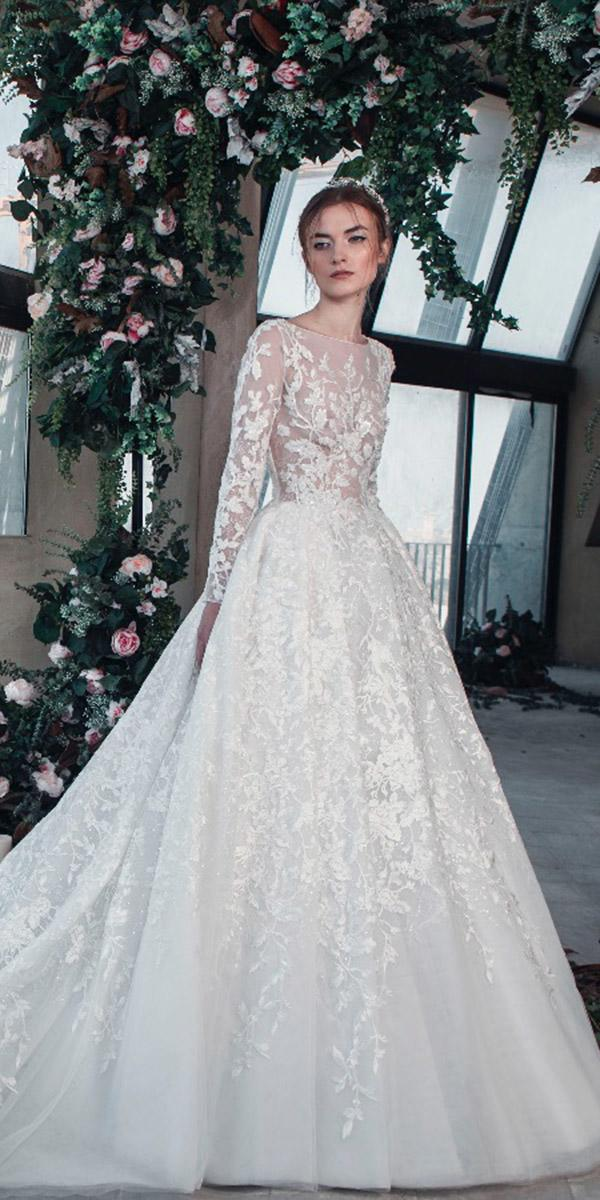 tony ward wedding dresses 2019 pricess with long sleeves illusion floral appliques