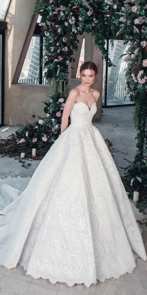 tony ward wedding dresses 2019 princess sweetheart strapless lace sequins with train