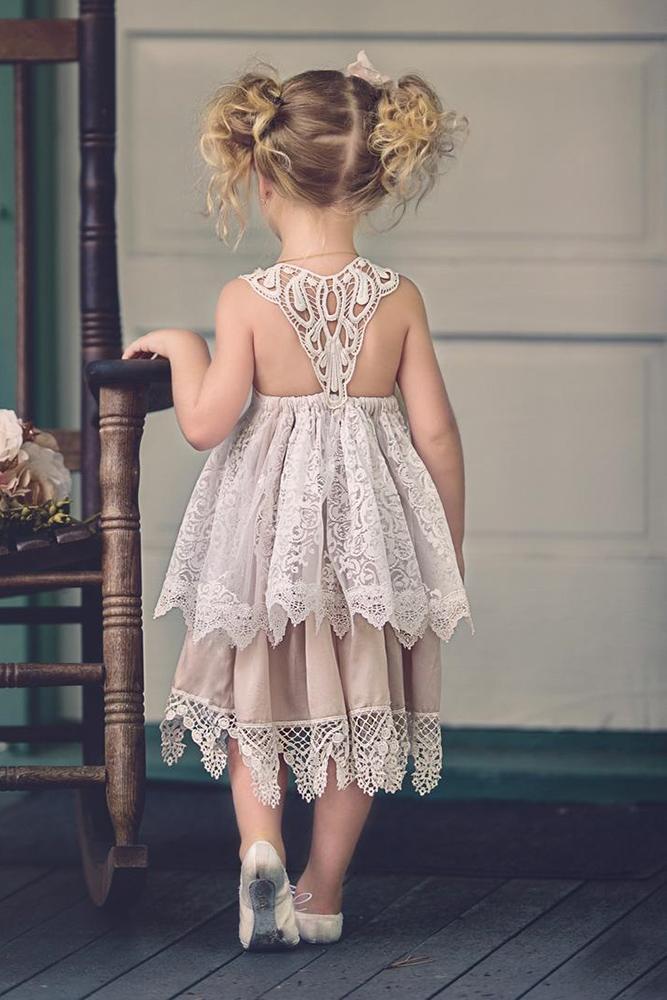 vintage flower girl dresses blush country lace back doll kejk