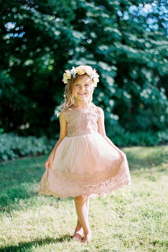 vintage flower girl dresses blush sleeveless country