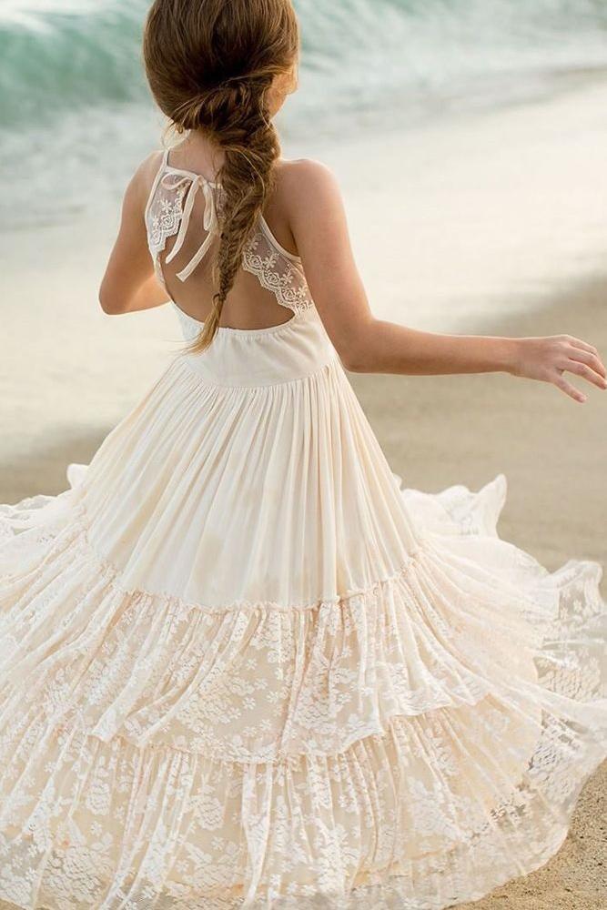 vintage flower girl dresses boho open back ivory