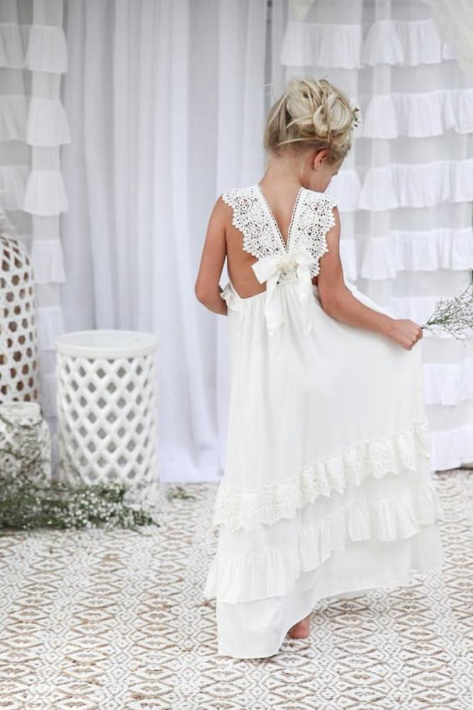 vintage flower girl dresses boho with bow lace