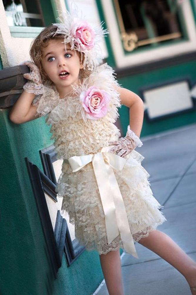 vintage flower girl dresses gatsby ruffled lace with bow gloves ivory