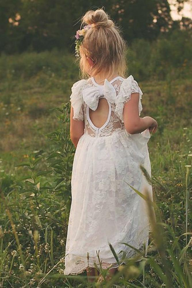 vintage flower girl dresses rustic with cap sleeves open back lace