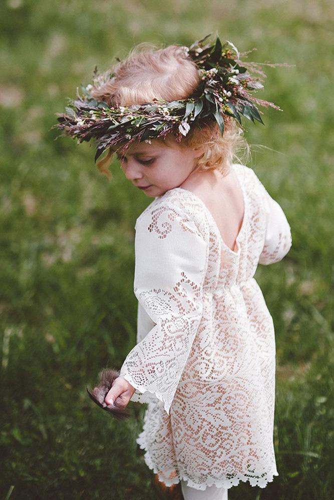 vintage flower girl dresses rustic with long sleeves full lace