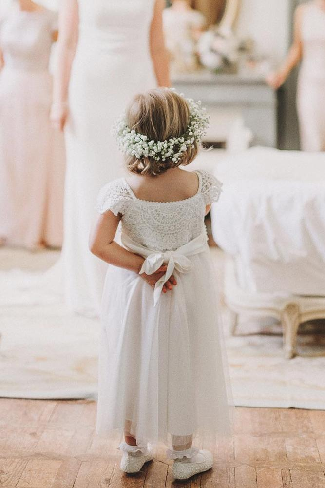 vintage flower girl dresses with cap sleeves lace top rustic bow