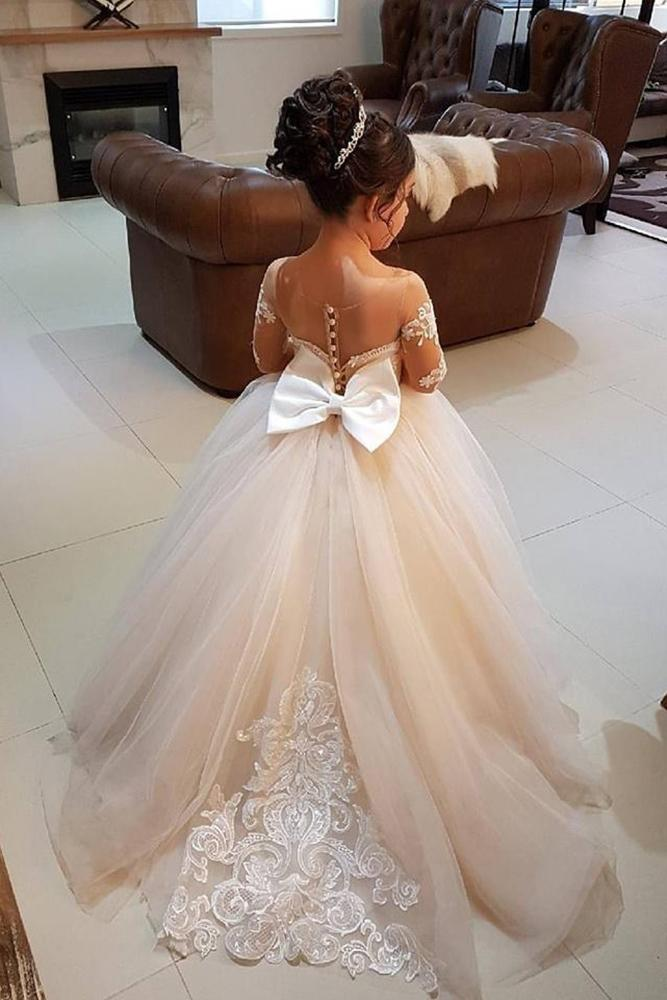 vintage flower girl dresses with illusion long sleeveswith bow lace vintage rose by hannah ali