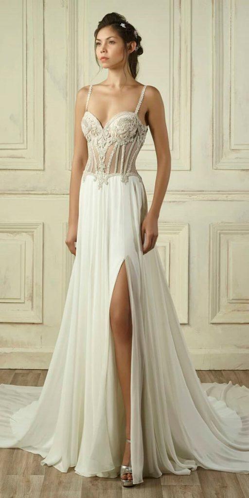 vintage wedding dresses 1920s gathered skirt a line sweetheart neck spaghetti straps lace gemymaalouf