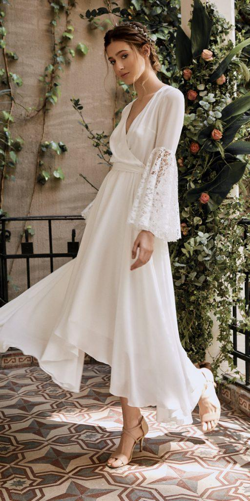 vintage wedding dresses 1920s mid length v neckline long sleeve lace juistanbul