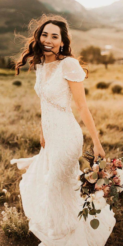 vintage wedding dresses 1920s sheath art deco v neckline with sleeves lace jenny packham