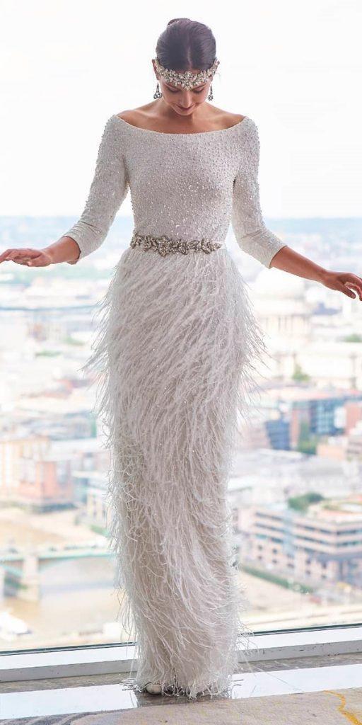 vintage wedding dresses 1920s sheath bateau neckline long sleeve art deco eliza jane howell