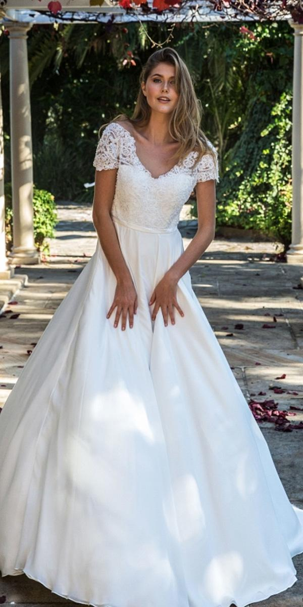 christina rossi wedding dresses a line with cap sleeves lace top 2018