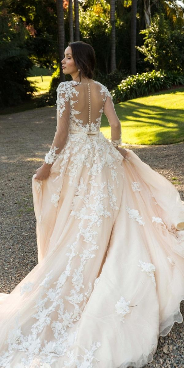 christina rossi wedding dresses a line with illusion long sleeves blush 3d flower