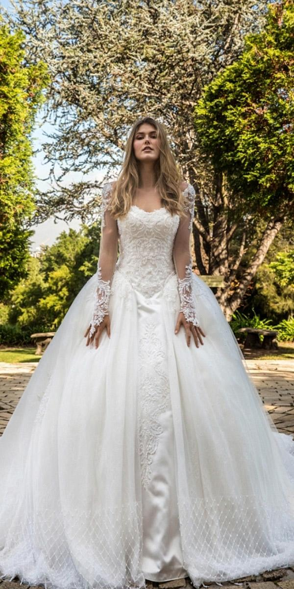 christina rossi wedding dresses ball gown with illusion long sleeves lace 2018