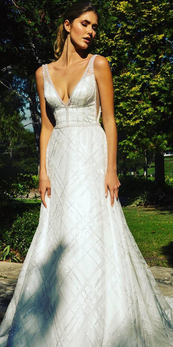 christina rossi wedding dresses beach a line deep v neckline lace sequins 2018