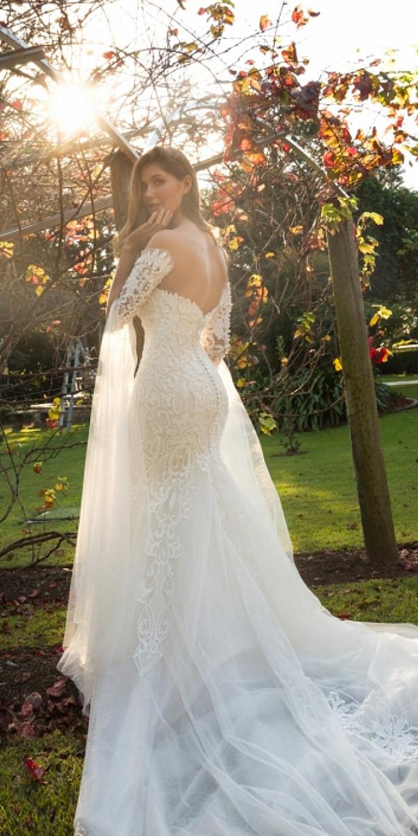christina rossi wedding dresses lace with detached sleeves train