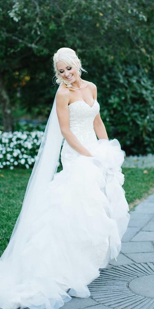 christina rossi wedding dresses mermaid sweetheart strapless ruffled skirt real bride