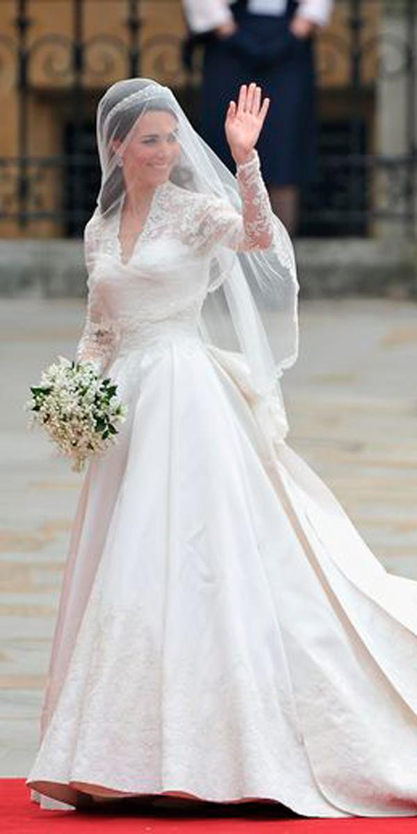 royal wedding a line lace queen ann neckline long sleeve with veil kate middleton alexander mc queen