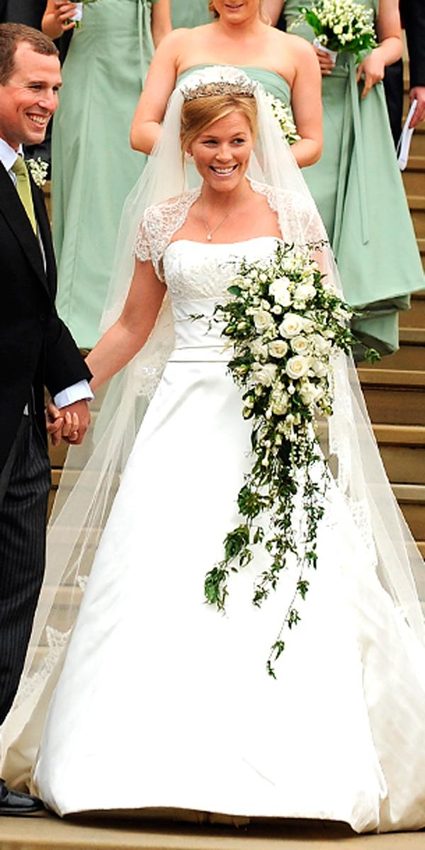 royal wedding ball gown strapless neckline with lace bolero sassi holford