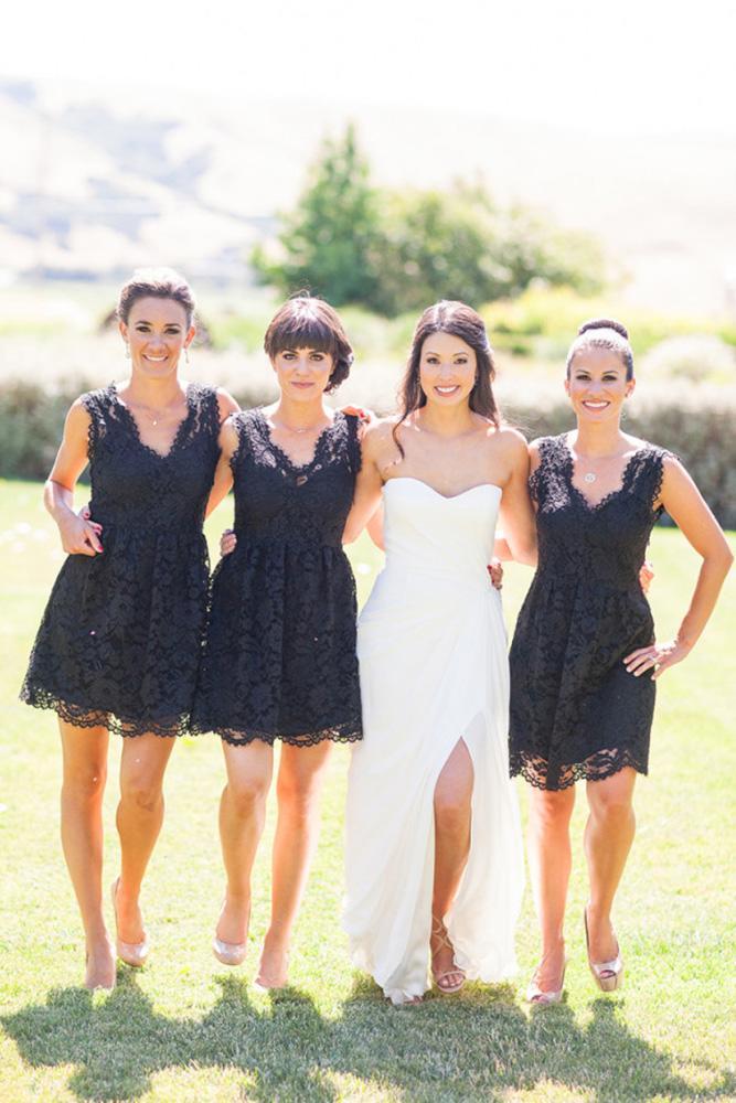 short bridesmaids dresses black lace v neckline larissa cleveland photography
