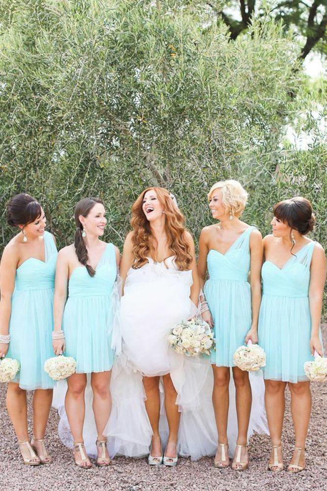 short bridesmaids dresses blue one shoulder rustic j anne photography