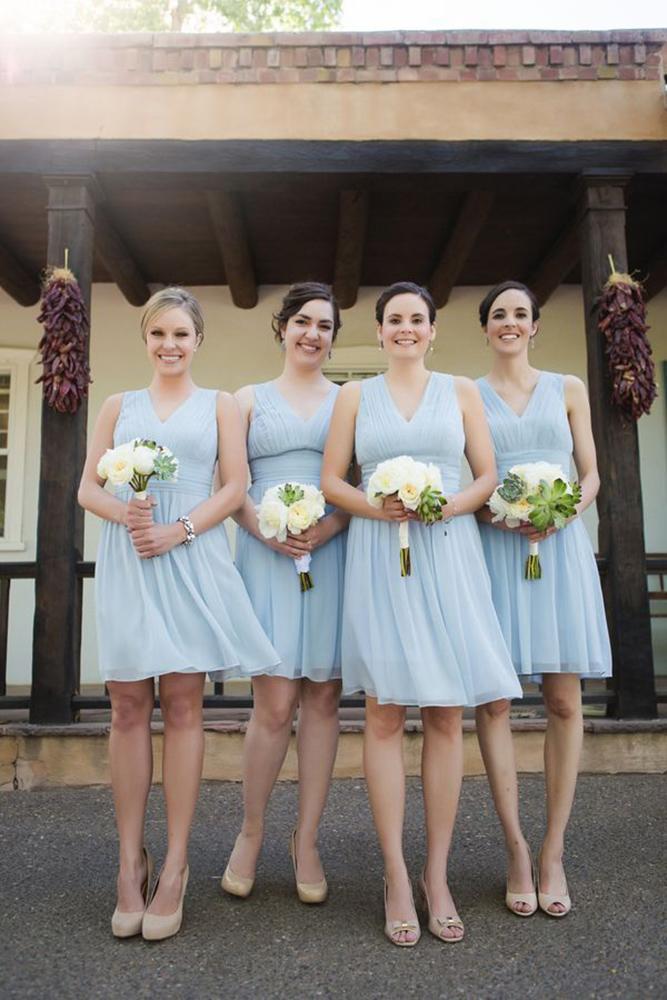 short bridesmaids dresses blue v neckline rustic tony gambino photography