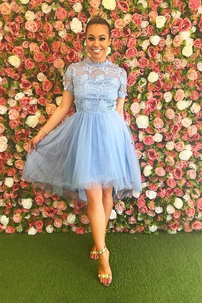 short bridesmaids dresses blue with cap sleeves lace top chichi clothing