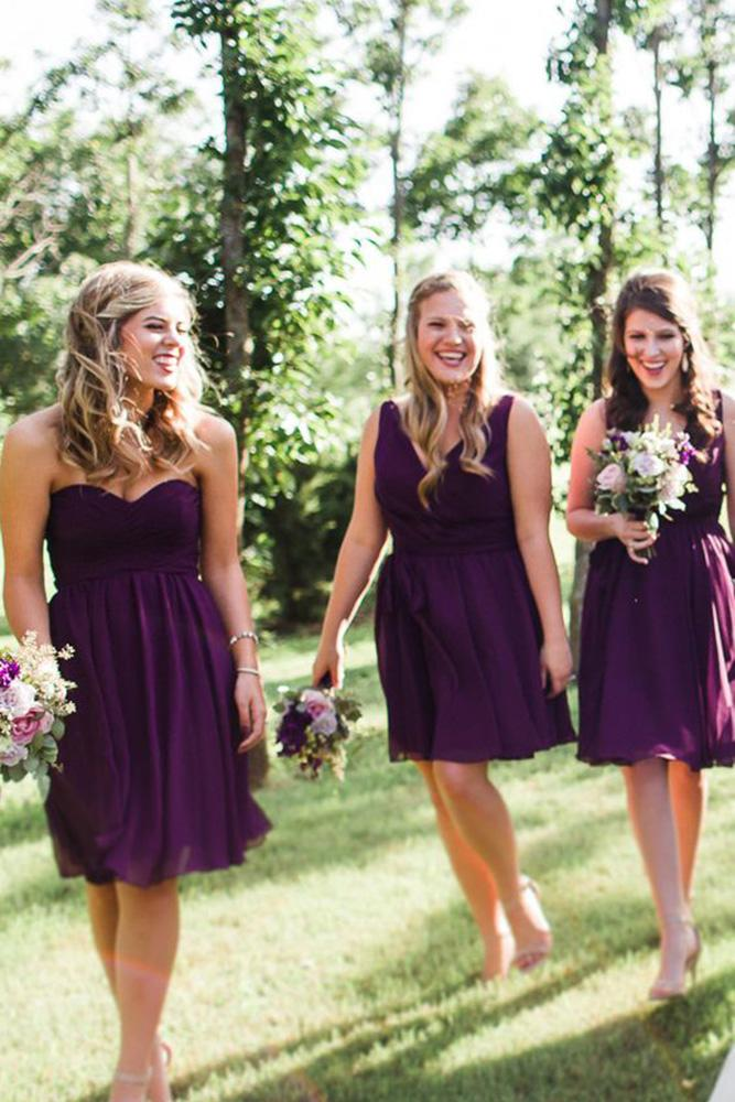 short bridesmaids dresses burgundy dark simple sarah libby photography