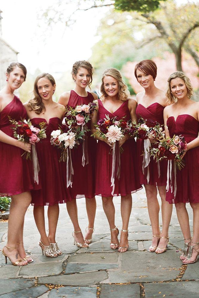 short bridesmaids dresses burgundy mismatched for summer liz banfield