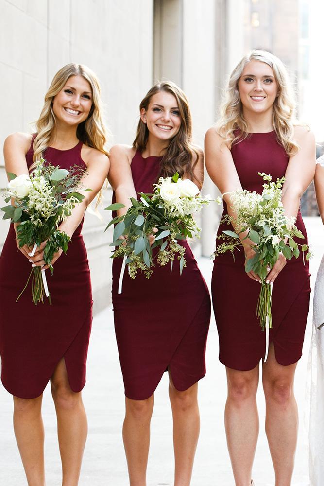 short bridesmaids dresses burgundy simple azuree wiitala