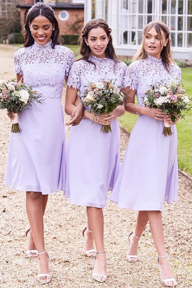 short bridesmaids dresses purple high neck lace top chichi clothing