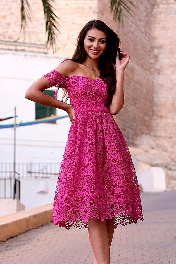 short bridesmaids dresses purple full lace off the shoulder chichi clother
