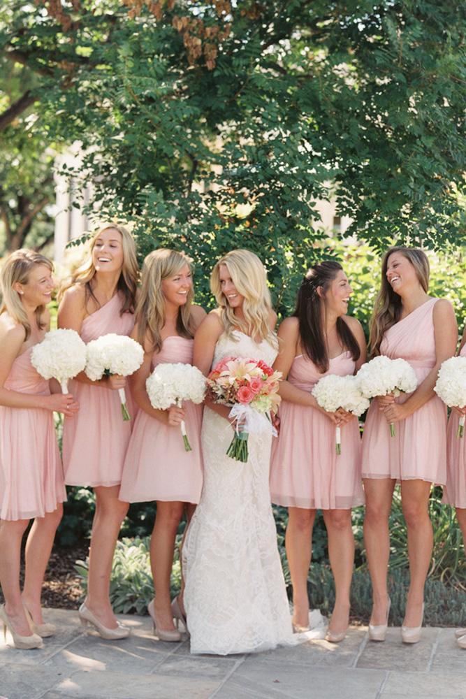 short bridesmaids dresses simple blush one shoulder sara hasstedt