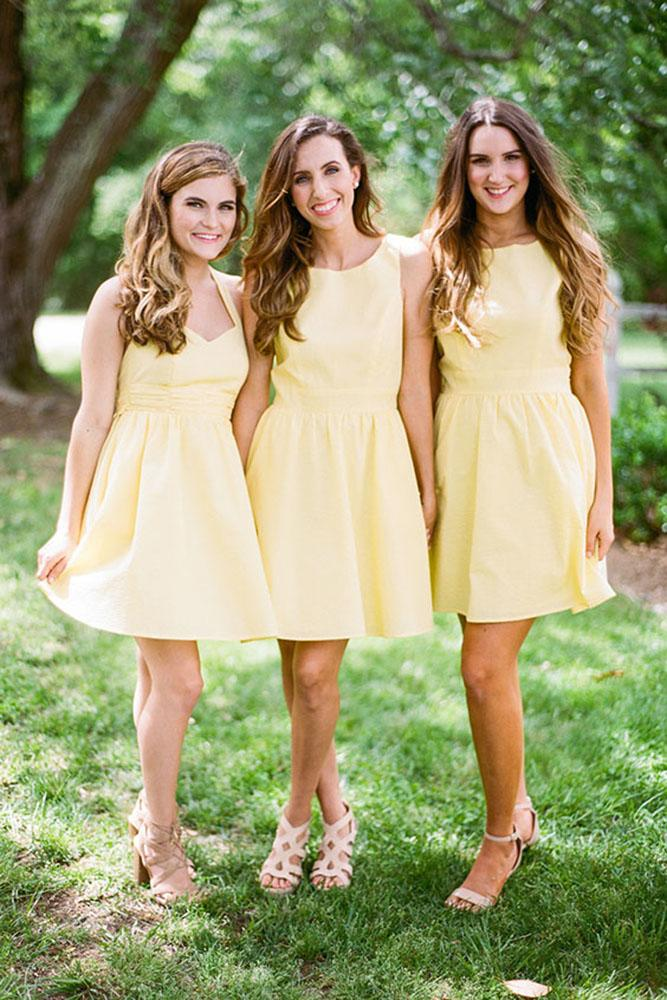 short bridesmaids dresses yellow simple country summer bamber photography