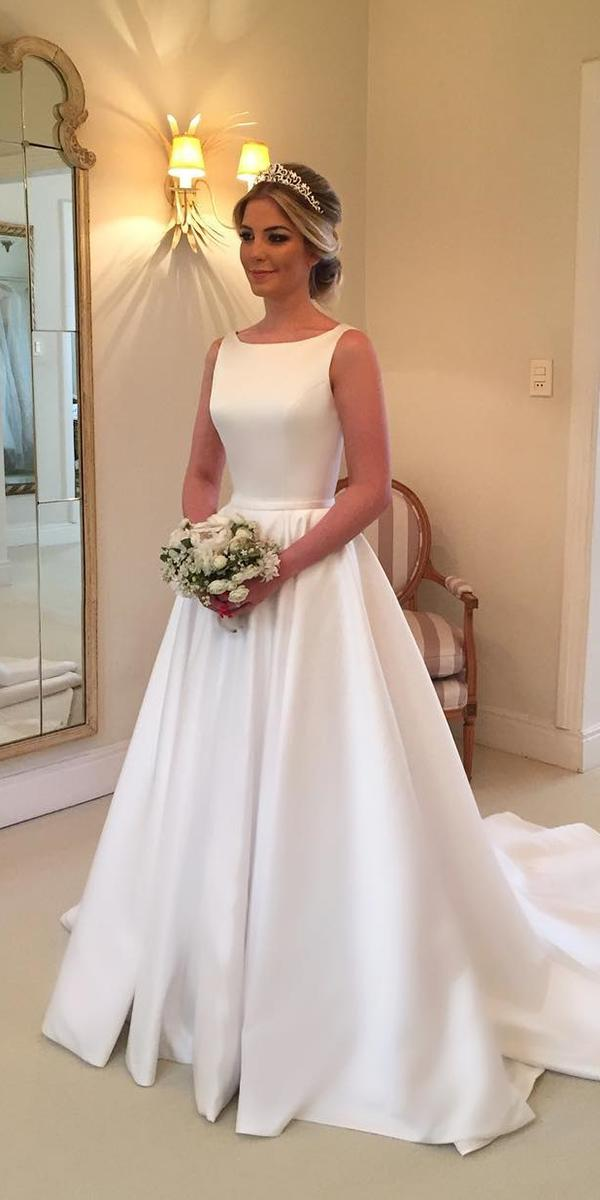 simple wedding dresses a line modest sleveless wanda borge