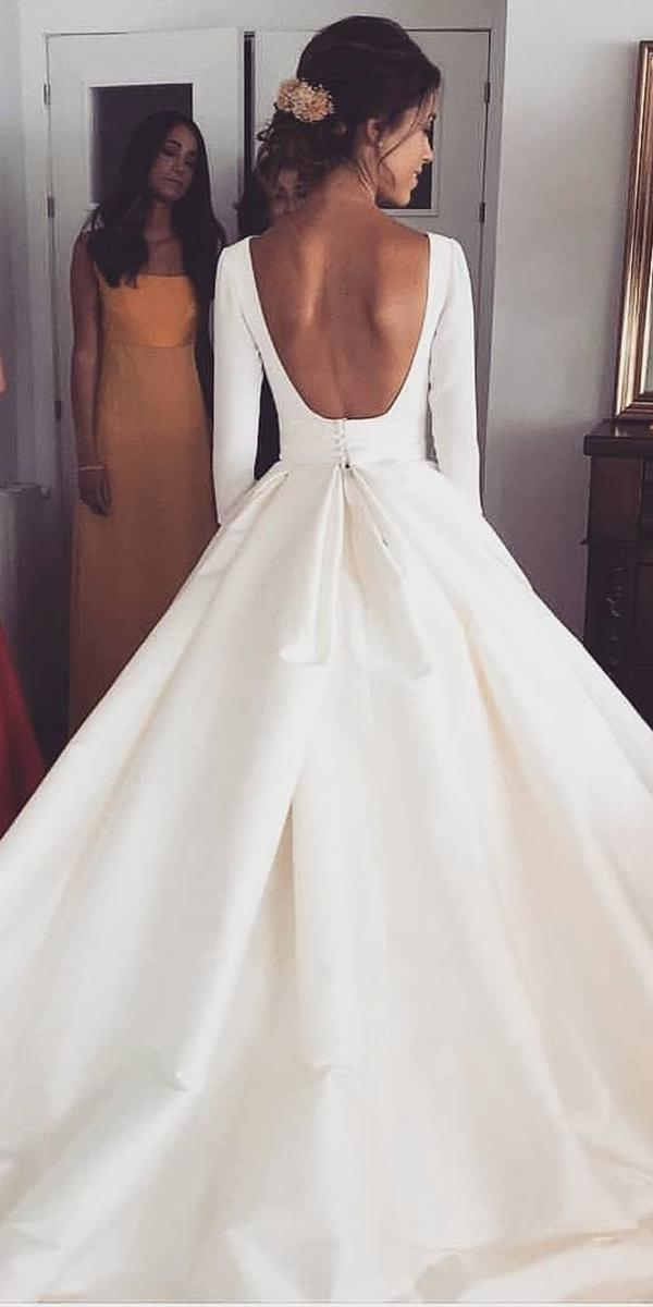simple wedding dresses a line with long sleeves bare back rubenhernandez costura