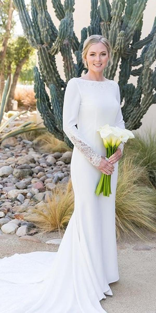 simple wedding dresses fit and flare bateau neckline long sleeve with train leahmarie