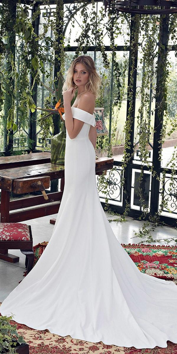 simple wedding dresses sheath straight neckline beach limor rosen