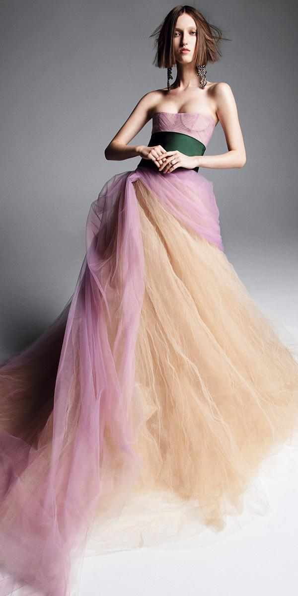 vera wang wedding dresses 2019 a line lavender nude strapless sweeheart tulle skirt